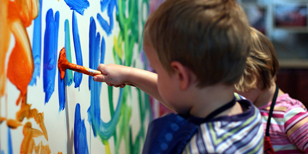 Painting and activities at Wee Care