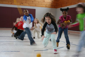 Kids playing in gym